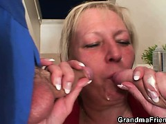 Two Repairmen Bang Busty Grandma