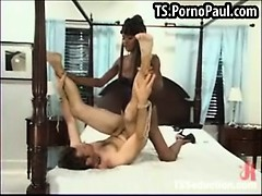 Black shemale uses a guys asshole