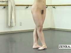 subtitled-japanese-ballerina-strips-naked-and-practices