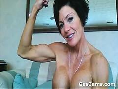 Muscular Mature Woman Flexing