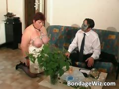 Tied up fat mature slut enjoying part4