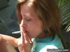Innocent looking brunette babe smokes part2
