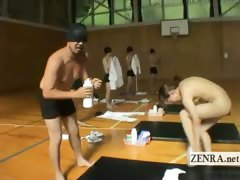 Subtitled Japanese athletes marathon strip for coitus