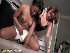 Horny black diaper girl loves getting part6